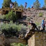 Family exploring Bandit's hideout